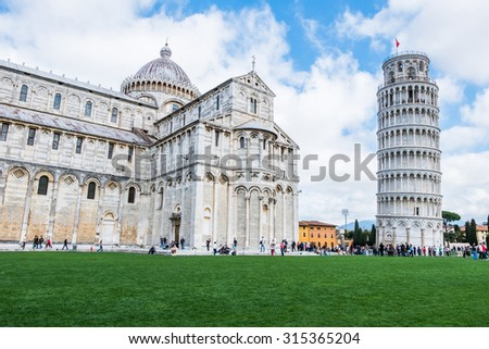 View of the Pisa Cathedral in Pisa, Italy - stock photo