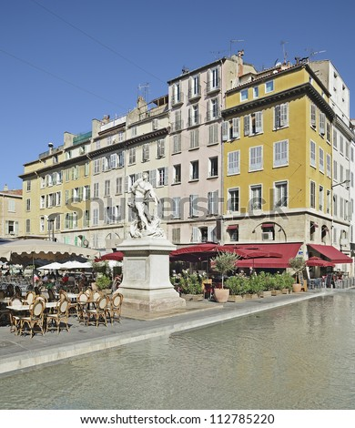 "View of the place at the street ""Cours Jean Ballard"" of Marseille in South France - stock photo"