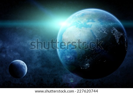 View of the planet Earth from space during a sunrise ( Elements of this image furnished by NASA) - stock photo