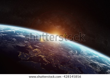 View Of The Planet Earth From Space During A Sunrise Elements This Image Furnished