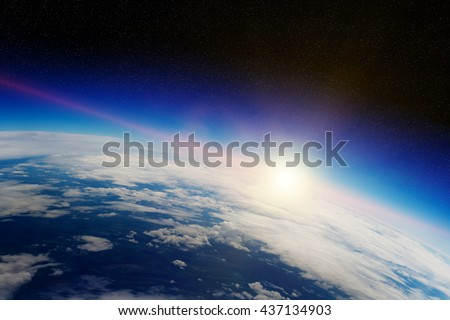 View of the planet Earth from space during a sunrise 'elements of this image furnished by NASA' '3D rendering'