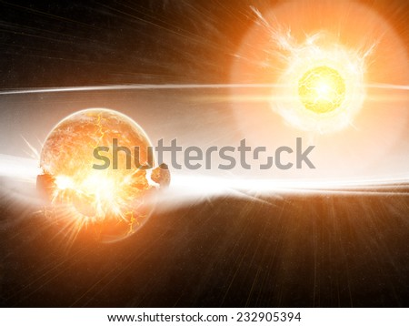 View of the planet Earth from space during meteorite impact - stock photo