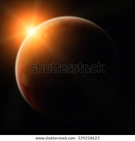 View of the planet Mars from space during a sunrise 'elements of this image furnished by NASA'