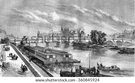 View of the Pont Neuf restored, vintage engraved illustration. Magasin Pittoresque 1857.