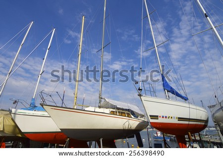 View of the port in Geneva lake, Switzerland - stock photo