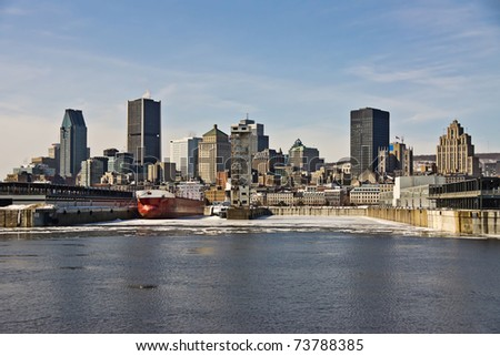 View of the Port of Montreal and office buildings in the background