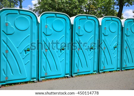 View of the portable public toilets