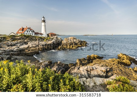 View of the Portland Head Lighthouse in Maine, USA - stock photo