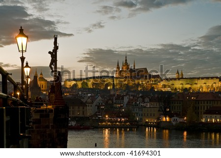 View of the Prague castle at dusk