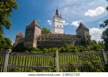 View of the Prejmer Fortified Church, a UNESCO World Heritage site in Transylvania, Romania