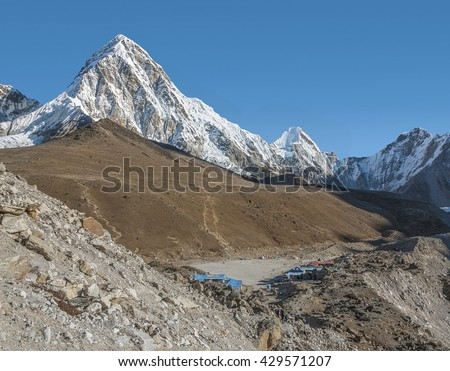 View of the Pumo Ri (7161 m) and Gorak Shep village - Everest region, Nepal, Himalayas