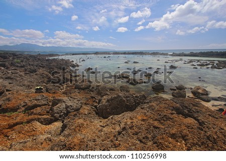View of the Pupukea tide pools on the south side of Sharks Cove, Oahu, Hawaii - stock photo