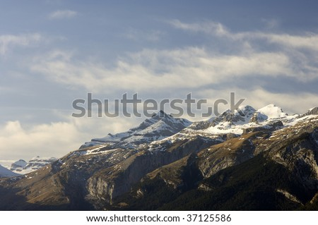 view of the Pyrenees mountains in winter