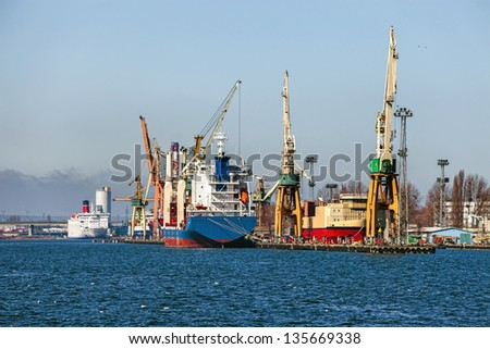 View of the quay port of Gdynia, Poland. - stock photo
