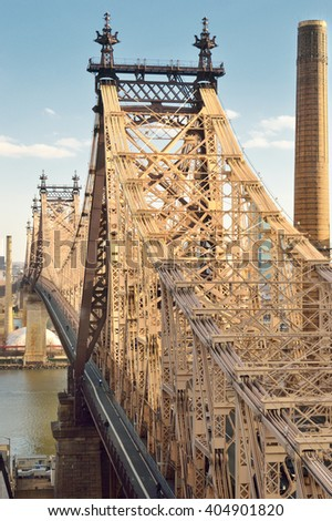 View of the Queensboro Bridge in New York City. - stock photo