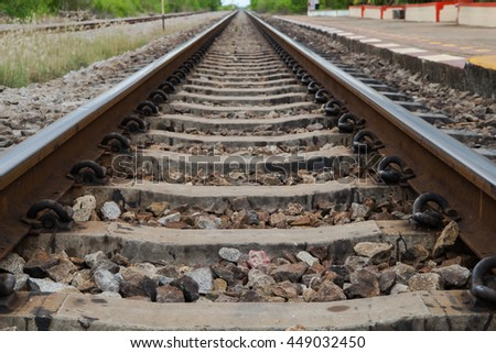 view of the railway Railroad Tracks crossing and going in different directions  - stock photo