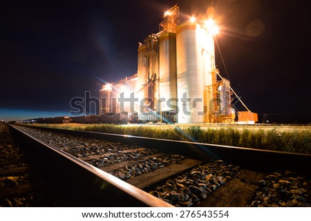 view of the railway track on a sunny day - stock photo