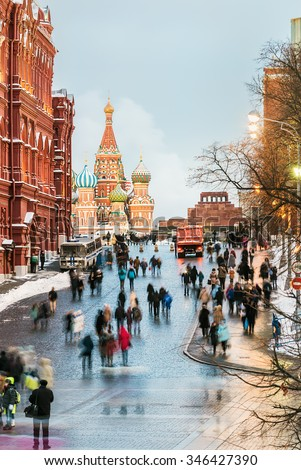 View of the Red Square and St. Basil's Cathedral on a winter evening. Russia - stock photo