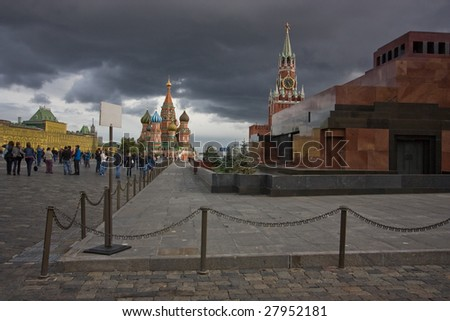 view of the red square, near the mausoleum of Lenin and kremlin - stock photo