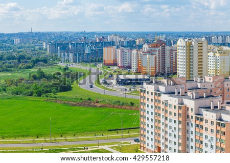 View of the residential district on the outskirts of the city Grodno, Belarus