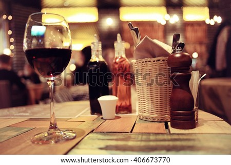 view of the restaurant warm toning - stock photo