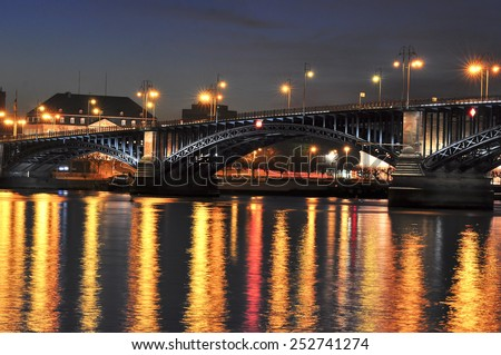 view of the Rhine and the bridge in Mainz at night - stock photo