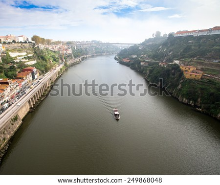 View of the River Douro and waterfronts in the city of Porto. Sunny day. - stock photo