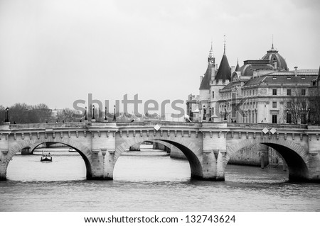 view of the river in Paris - stock photo