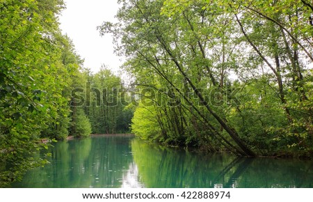 View of the river in the site of Pal�¹ di Livenza, Pordenone. Italy - stock photo