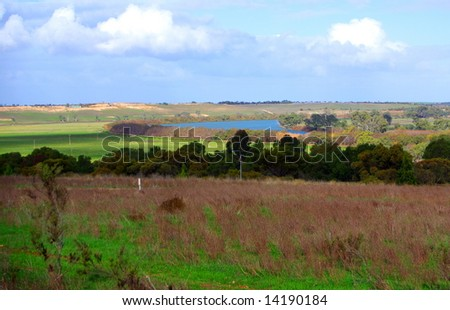 View of the River Murray and agricultural surrounds, taken from the scenic lookout near Murray Bridge (Australia). - stock photo