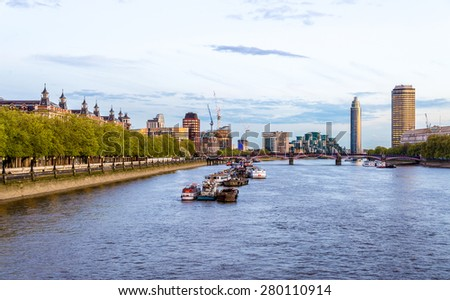 View of the River Thames towards Lambeth Bridge - London