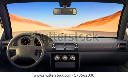 View of the road from the windshield. - stock photo