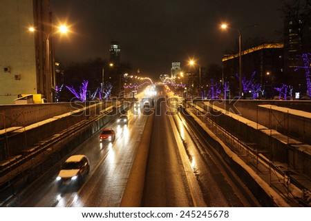 View of the road in Moscow at night