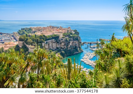 View of the rock and the village of monaco and monte carlo in the south of France - stock photo