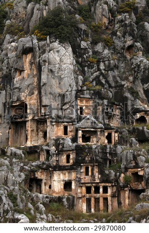 View of the rock cut tombs of Myra - stock photo