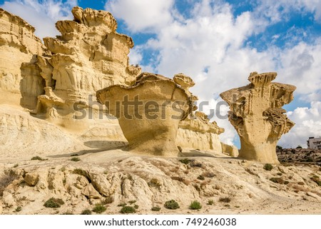 View of the rock formations Erosions of Bolnuevo in Spain