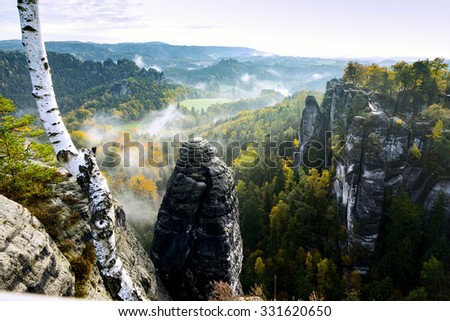 View of the rock formations in eastern Germany Bastei. - stock photo