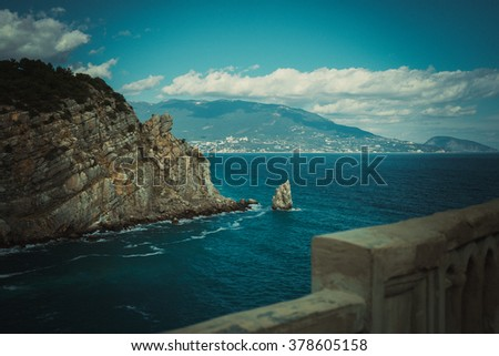 view of the rock sail in Gaspra Yalta on the Black Sea in Crimea in autumn