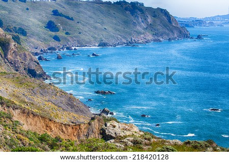 View of the rocks and cliffs of the Point Reyes coastline. California. - stock photo