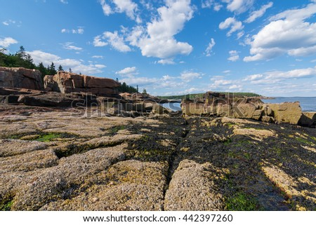 View of the rocky cliff shore line at Acadia National Park. Maine, New England