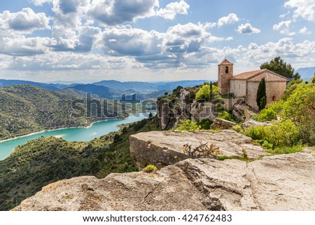 View of the Romanesque church of Santa Maria de Siurana in Catalonia