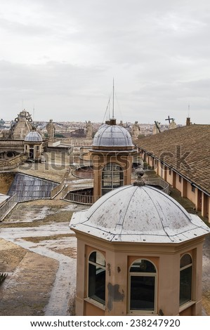 view of the roof of St. Peter Basilica, Vatican