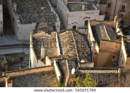 View of the roofs of the old houses inside the ancient town of Matera (Sassi di Matera), European Capital of Culture 2019, Basilicata, Italy