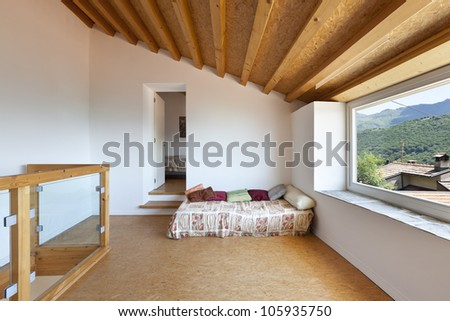 view of the room, rural home interior, small bed - stock photo