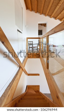 view of the room, rural home interior, staircase - stock photo