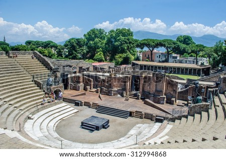 view of the ruin of amphitheatre - theatre in italian pompeii - stock photo
