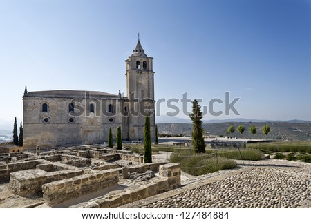 View of the ruins and the Major Abbey Church (Iglesia Mayor Abacial) constructed during the 15th and 16th centuries, in Fortaleza de La Mota, Sapin - stock photo