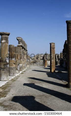 View of the ruins of the archeological Pompeii site, located near Naples, Italy. - stock photo