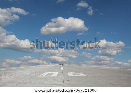 View of the runway threshold 06 of Prage Airport - stock photo