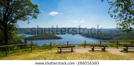 view of the Rursee lake at the Eifel in germany - stock photo
